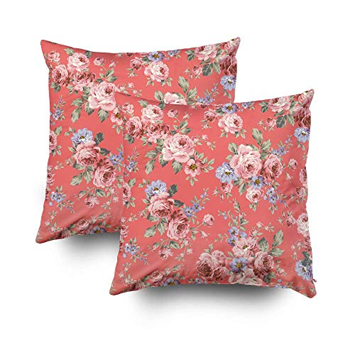 ROOLAYS Couch Pillow Cover Throw Square Decorative Pillow Cover 18x18InchCushion Covers Rose Flower Pattern Both Sides Printing Invisible Zipper Home Sofa Decor 2Pack PillowcaseBlue Gold nUQ-B07KXPQ7QQ