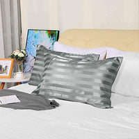 uxcell 2 Pack Satin Grey Striped Pillowcases StandardQueen Size Silky Pillow Cases Covers for Hair and Skin 20x30inch TEe-B07SQ1HZZ5
