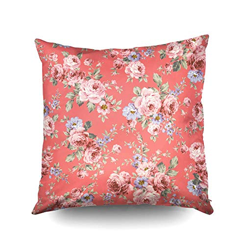 ROOLAYS Throw Pillow Cover for Couch Throw Square Decorative Pillow Cover 18x18InchCushion Covers Rose Flower Pattern Both Sides Printing Invisible Zipper Home Sofa Decor PillowcaseBlue Gold Cu3-B07KXPPQ71