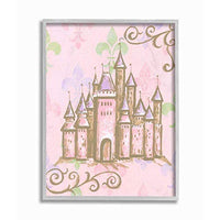 The Kids Room by Stupell Castle with Fleur de Lis on Pink Background Gray Framed Wall Art 11x14 MultiColor