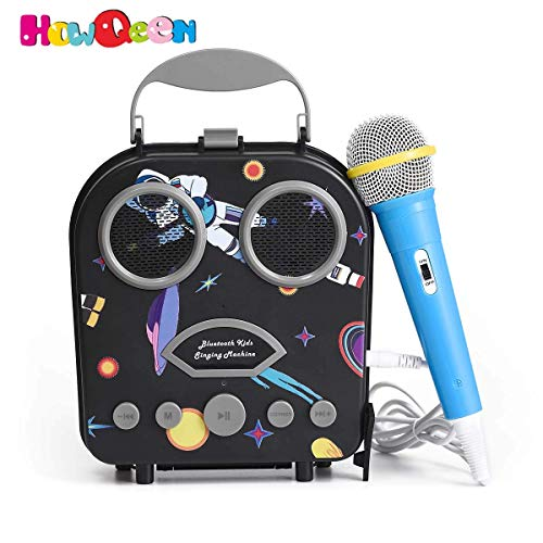 Bluetooth Speaker Childrens Karaoke Speaker Portable Microphone Beach Handbag Karaoke Bluetooth Speaker Wireless Cartoon Speaker for Kids for Indoor Outdoor Travel Activities with Microphone Black YtV-B07PNKQFTP