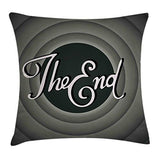 Lunarable 1950s Throw Pillow Cushion Cover Vintage Movie Ending Screen Camera Hollywood Industry Film and Television Decorative Rectangle Accent Pillow Case 26 X 16 Green Grey