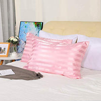 uxcell 2 Pack Satin Pink Stripe Pillowcases King Size Silky Pillow Case Covers for Hair and Skin 20x40inch a8q-B07SQ1H8L6