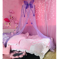 Mengersi Bed Canopy Curtains Mosquito Net Stars for Girls Boys Adults Playing Games House Bedroom Decoration Light PurpleButterfly lLj-B07RMV6T2T