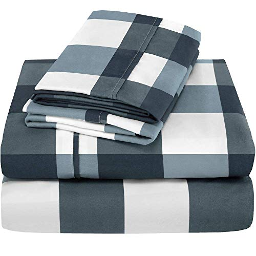 Bare Home Full Sheet Set Kids Size 1800 UltraSoft Microfiber Bed Sheets Double Brushed Breathable Bedding Hypoallergenic Wrinkle Resistant Deep Pocket Full Gingham Blue Y12-B076HCCZSH