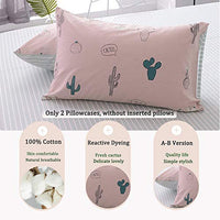 FenDie Cactus Pattern Pillow Cases Standard 20x 26 Size Reversible Cotton Queen Pillow Covers Envelope Closure End 2 Pieces Pink pNr-B075711LDV