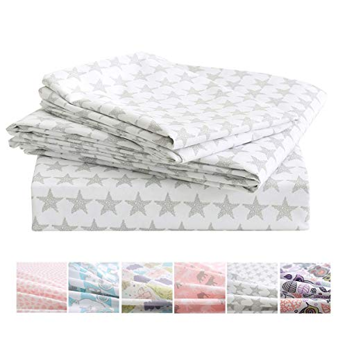 Vonty 3pcs Star Twin Sheets Kids Twin Sheets Set Soft Cozy Brushed Microfiber Sheets for Boys and Girls 1 Fitted Sheet + 1 Flat Sheet + 1 Pillowcase lam-B07WMN32D7