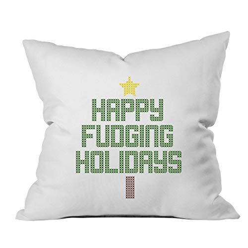 Oh Susannah Happy Fudging Holidays Christmas Throw Pillow Cover 1 18 x 18 Inch Green gHD-B01N3NPJS9