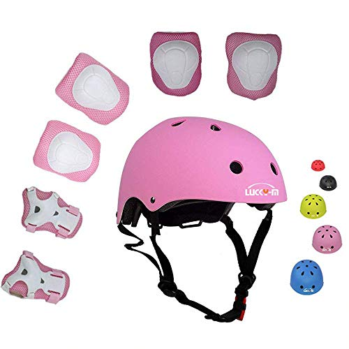 UniqueFit LuckyM Kids Outdoor Sports Protective GearBoys and Girls Safety Pads Set HelmetKneeElbow Pads and Wrist Guards for Roller Scooter Skateboard Bicycle38 Years Old