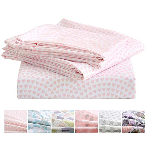Vonty 3pcs Pink Heart Sheets Kids Twin Sheets Set Soft Cozy Brushed Microfiber Sheets for Boys and Girls 1 Fitted Sheet + 1 Flat Sheet + 1 Pillowcase Gxt-B07WGJVQK8