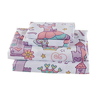 Elegant Home Multicolors Princess Castle Fairy Tale Crown Unicorn Rainbow Design 4 Piece Printed Sheet Set with Pillowcases Flat Fitted Sheet for GirlsKidsTeens Castle Lavender Full Size KqM-B07RQ5CHTF