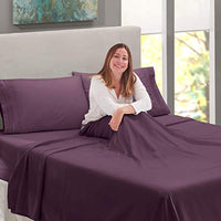 Nestl Bedding Soft Sheets Set 5 Piece Bed Sheet Set 3Line Design Pillowcases Easy Care Wrinkle Free 2 Fit Deep Pocket Fitted Sheets Free Warranty Included Split King Purple U3F-B00VAOPU4G