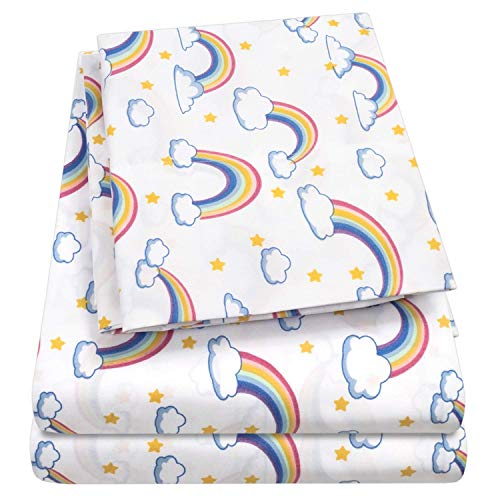 1500 Supreme Kids Bed Sheet Collection Fun Colorful and Comfortable Boys and Girls Toddler Sheet Sets Deep Pocket Wrinkle Free Hypoallergenic Soft and Cozy Bedding Twin XL Rainbows nFR-B07PTZHXVW