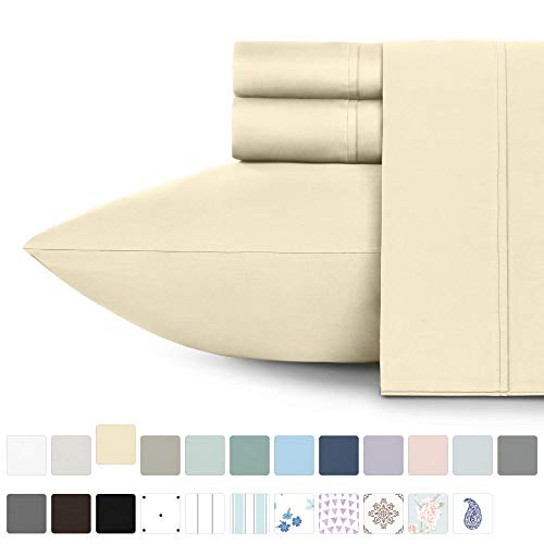 California Design Den 400 Thread Count 100 Cotton Sheet Set Vanilla Yellow King Sheets 4 Piece Set LongStaple Combed Pure Natural Best Cotton Bedsheets Soft Silky Sateen Weave XCX-B06Y1YJRN4