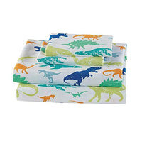 Elegant Home Green Blue Orange Dinosaur Design Fun 4 Piece Printed Sheet Set with Pillowcases Flat Fitted Sheet for BoysKidsTeens Dinosaurs Green Full Size fW0-B07RVJHMRZ