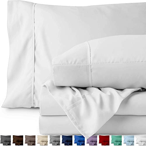 Bare Home Twin XL Sheet Set College Dorm Size Premium 1800 UltraSoft Microfiber Sheets Twin Extra Long Double Brushed Hypoallergenic Wrinkle Resistant Twin XL White Nel-B077DW6LFQ
