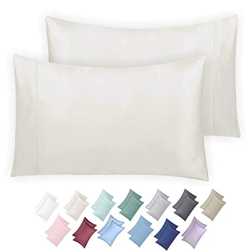 California Design Den 600 Thread Count Pillowcase Set of 2 100 LongStaple Combed Cotton Breathable Soft Sateen Weave Luxury Hotel Quality Pillow Cases King Ivory FCU-B079X15R3Y