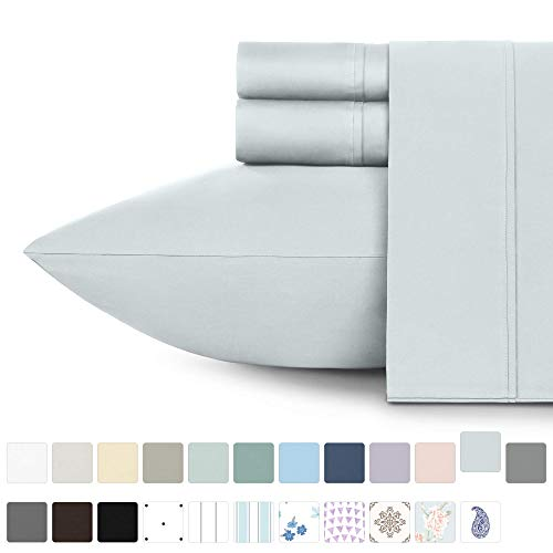 400 Thread Count 100 Cotton Sheets Light Grey Longstaple Cotton Twin XL Best Sheets Fits Mattress Upto 17 Deep Pocket Soft Sateen Weave Cotton 3Piece Bedsheets and Pillowcases Lic-B06XS1J182