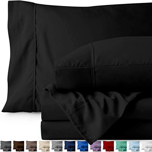 Bare Home Twin XL Sheet Set College Dorm Size Premium 1800 UltraSoft Microfiber Sheets Twin Extra Long Double Brushed Hypoallergenic Wrinkle Resistant Twin XL Black 8C0-B00THMOS50
