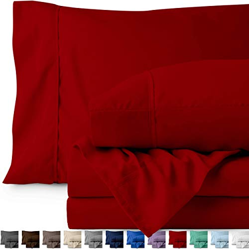 Bare Home Full XL Sheet Set Kids Size Premium 1800 UltraSoft Microfiber Sheets Full Extra Long Double Brushed Hypoallergenic Wrinkle Resistant Full XL Red r0c-B0716DP365