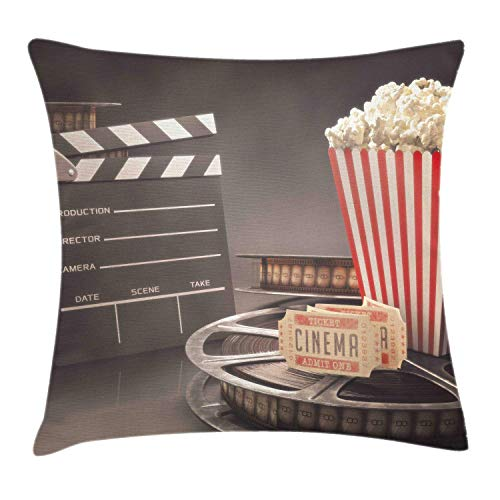 Ambesonne Movie Theater Throw Pillow Cushion Cover Old Fashion Entertainment Objects Related to Cinema Film Reel Motion Picture Decorative Square Accent Pillow Case 20 X 20 Yellow White