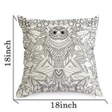 DIY Coloring Pillowcase Fastness Cat Owl Pattern Graffiti Pillow Cover 18x18 with A Set of 12 Doodle Color Pens Cat Owl Ytz-B01N4X3SB1