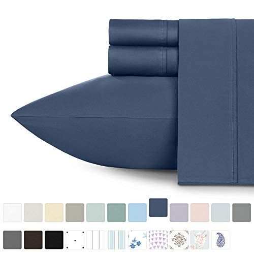 California Design Den 400 Thread Count 100 Cotton Sheet Set Indigo Batik Twin Sheets 3 Piece Set LongStaple Combed Pure Natural Cotton Bedsheets Soft Silky Sateen Weave 8y4-B06Y3W2F1T