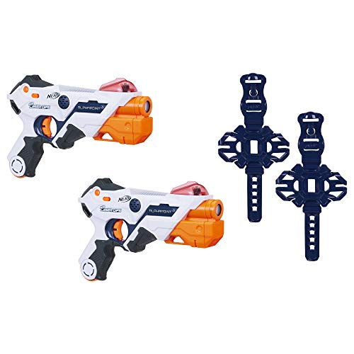 AlphaPoint Nerf Laser Ops Pro Toy Blasters Includes 2 Blasters 2 Armbands Light Sound FX Health Ammo Indicators for Kids Teens Adults