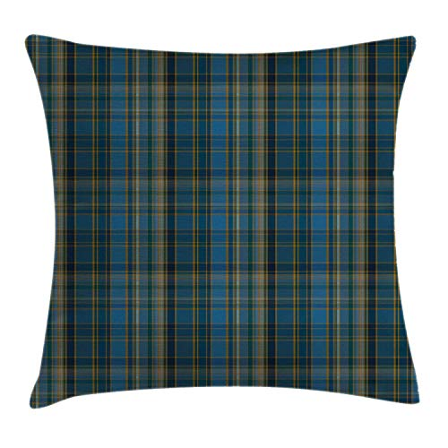 Lunarable Plaid Throw Pillow Cushion Cover Striped Geometric British Pattern with Modern Design Elements in Blue Decorative Square Accent Pillow Case 24 X 24 Teal Marigold