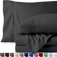 Bare Home Twin XL Sheet Set College Dorm Size Premium 1800 UltraSoft Microfiber Sheets Twin Extra Long Double Brushed Hypoallergenic Wrinkle Resistant Twin XL Grey gH3-B0779H6TNF