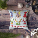 ROOLAYS Christmas Outdoor Pillows Square Both Sides Throw Pillow Covers 16X16Inch Greeting Christmas Card with Cute Cartoon Drawn Holding Hands Garland UF8-B07Z4TKP22