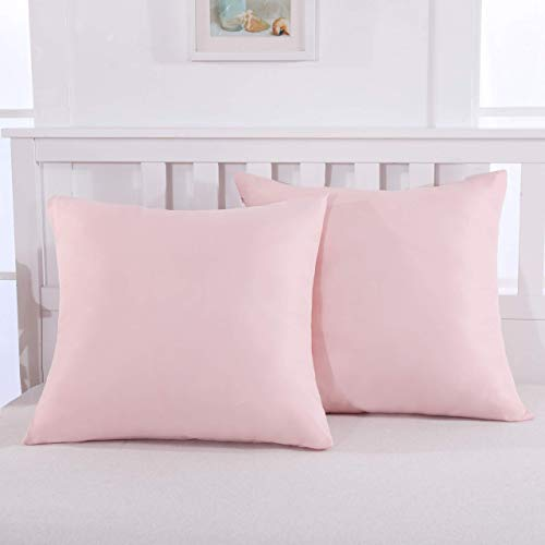 Mohap Zippered Pillowcases Soft and Durable Brushed Microfiber 1800 Plush Experience Machine Washable Square Throw Pink 636-B07ZD3TF3B