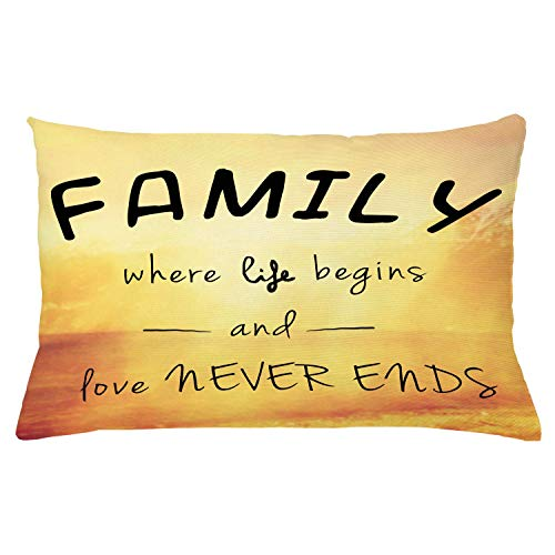 Ambesonne Family Throw Pillow Cushion Cover Message About Family Life and Love on Dreamy Backdrop Wisdom Decorative Rectangle Accent Pillow Case 26 X 16 Marigold Yellow