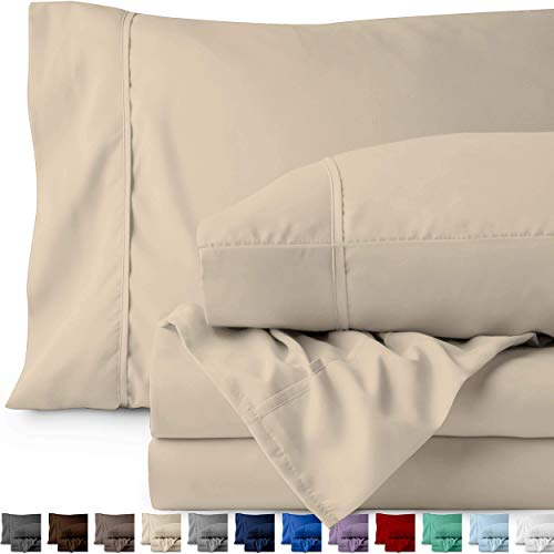 Bare Home King Sheet Set 1800 UltraSoft Microfiber Bed Sheets Double Brushed Breathable Bedding Hypoallergenic Wrinkle Resistant Deep Pocket King Sand OUt-B019J50RWM