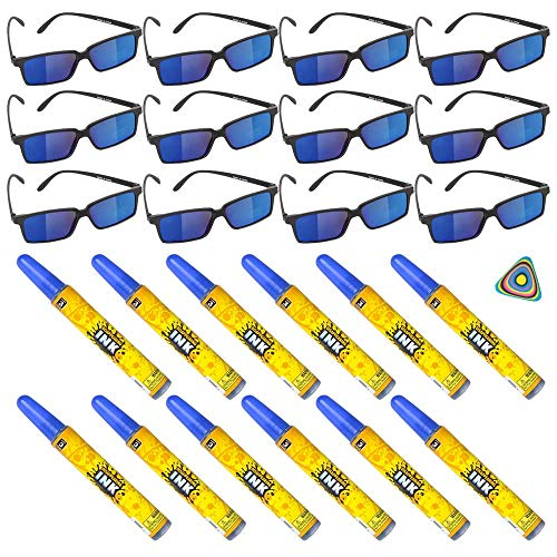 Shop Zoombie 24 PC Spy Secret Agent Party Supplies Party Favor 12 Spy Glasses 12 Disappearing Ink and 1 Triangle Eraser Detective Prizes Treasure Box