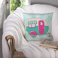 EMMTEEY Decorative Pillow Covers16x16 Inch Pillow Covers Home Throw Pillow Covers Cute Pink and Turquoise Camper on a Striped Print on Fabric Clothes Papers and Posters Square Double SidedPink Blue 7X4-B07SX7BDT1
