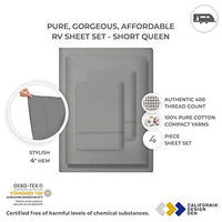 400 Thread Count RV Short Queen Sheets 4 pc Slate Grey 100 Cotton Bed Sheets for Motorhomes Camper Long Staple Cotton Sateen Weave for Soft Silky Feel Fits 16 Deep Pocket Mattress ECt-B07GVBC8DS