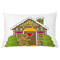 Ambesonne Gingerbread Man Throw Pillow Cushion Cover Gingerbread House with Colorful Candies Cookie Man Graphic Decorative Rectangle Accent Pillow Case 26 X 16 Umber