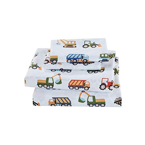 Elegant Homes Construction Site Equipment Trucks Tractors Cranes Excavators Design 3 Piece Printed Sheet Set with Pillowcases Flat Fitted Sheet for BoysKids Construction Trucks Twin Size JKW-B07TLZCMZR