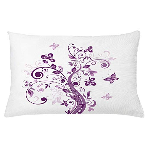 Ambesonne Mauve Throw Pillow Cushion Cover Tree with Swirled Branches and Flowers Leaf Butterfly Bridal Inspirations Theme Decorative Rectangle Accent Pillow Case 26 X 16 Purple White