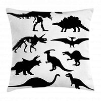 Ambesonne Dinosaur Throw Pillow Cushion Cover Prehistoric Skeleton Bone Black Silhouettes of Different Wild Dinosaurs Decorative Square Accent Pillow Case 16 X 16 White Black