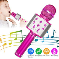 KIDWILL Wireless Bluetooth Karaoke Microphone 5in1 Portable Handheld Karaoke Mic Speaker Player Recorder with Adjustable Remix FM Radio for Kids Adults Birthday Party KTV Christmas Rose Red