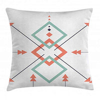 Lunarable Aztec Throw Pillow Cushion Cover Latin American Arrows and Motifs in an Abstract Vibrant Colored Design Artwork Decorative Square Accent Pillow Case 20 X 20 Blue Coral