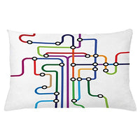 Ambesonne Map Throw Pillow Cushion Cover Colorful Abstract Subway Map Lines and Dots Navigation Guide Modern Underground Railway Decorative Rectangle Accent Pillow Case 26 X 16 Purple Vermilion