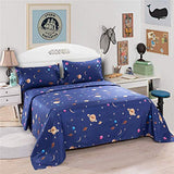 Bedlifes Space Sheets for Kids Boys Girls Moon and Stars Bed Sheets Flat Sheet Fitted Sheet with Pillowcase 3PCS Navy Twin aCm-B07S31P2S7