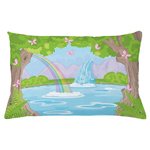 Ambesonne Feminine Throw Pillow Cushion Cover Print of Fairy Landscape with Waterfall Rainbow Lake Butterflies Land Decorative Rectangle Accent Pillow Case 26 X 16 Green Blue