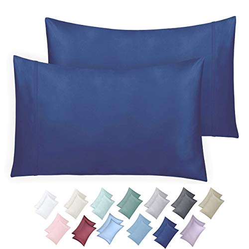600 Thread Count 100 Cotton Pillow Cases True Blue Standard Pillowcase Set of 2 Long Staple Combed Pure Natural Cotton Pillows for Sleeping Soft Silky Sateen Weave Bed Pillow Covers 0nA-B079WXQWKV