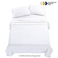 California Design Den 400ThreadCount 100 Pure Cotton Sheets 4Piece Navy Blue Polka Dot King Size Sheet Set LongStaple Combed Cotton Premium Bed Sheets Breathable Sateen Weave Flat Sheets Set DFc-B07BBN3X1F