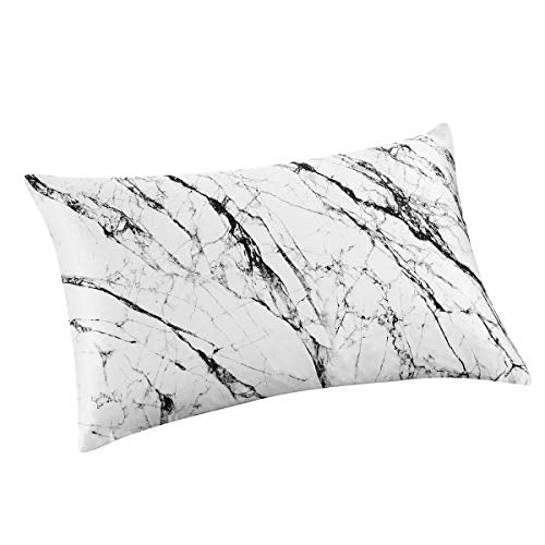 ALASKA BEAR Natural Silk Pillowcase Hypoallergenic 19 Momme 600 Thread Count 100 Percent Mulberry Silk King Size with Hidden Zipper 1 White Marble Pattern WuY-B0739WJ5Z4