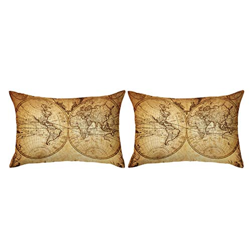 ARIGHTEX Vintage World Map Pillow Cover Antique Medieval World Map Pillowcase Teens Kids Travellers Pillow Shams Set of 2 Retro King 20 x 36 4PK-B07BP5CSWX